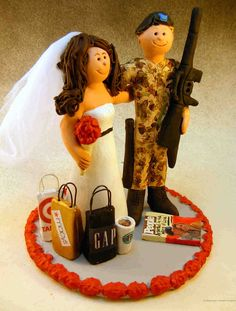 A very cute Army Wedding Cake Topper!