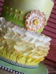 Ruffled 60th birthday cake