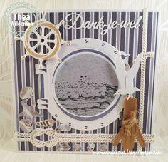 Thème Maritime - Carte au hublot (die Marianne Design) à l'intérieur découpé.