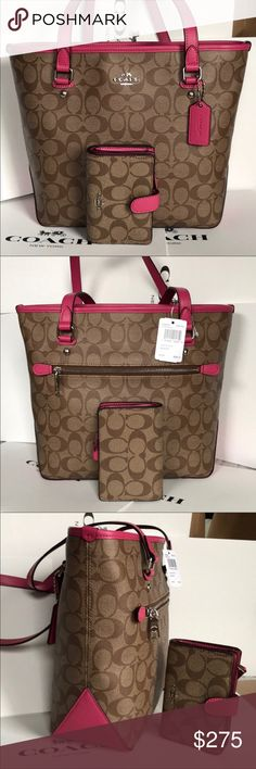 Coach Set 100% Authentic Coach Tote Bag and Wallet, brand new with tag! Coach Bags Crossbody Bags