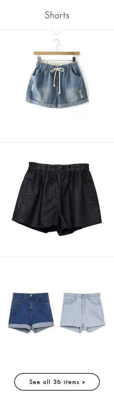 """""""Shorts"""" by rosnys ❤ liked on Polyvore featuring shorts, blue shorts, denim shorts, torn shorts, vintage denim shorts, vintage ripped shorts, bottoms, black, short and summer shorts"""