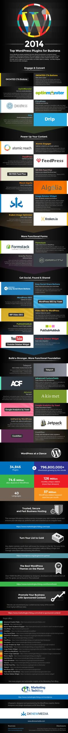 2014 Top Wordpress Plugins for business #INFOGRAFIA #INFOGRAPHIC #SOCIALMEDIA