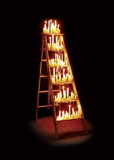 We were going to use a ladder anyway this Advent season. This would be so cool on Christmas Eve! Christmas Eve Service, Church Stage Design, Stage Set Design, Advent Season, All Saints Day, Event Decor, Christmas Decorations, Christmas Stage Design Backdrops, Church Decorations