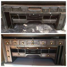 Antique Desk Topper Before & After