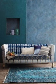 Anthropologie Hand-Dyed Shibori Sofa #anthrofave #anthropologie