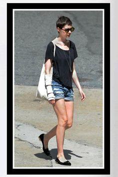 Buy it: Anne Hathaway's Black Velvet Kitty Flats