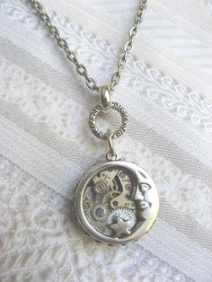 Items similar to Silver Moon Necklace - Steampunk Moon Star Necklace - Moon Luna - Jewelry by BirdzNbeez - Christmas Birthday Wedding Bridesmaid Gift on Etsy Punk Jewelry, Moon Jewelry, Jewelry Accessories, Fashion Jewelry, Silver Necklaces, Silver Jewelry, Jewelry Necklaces, Unique Jewelry, Silver Rings