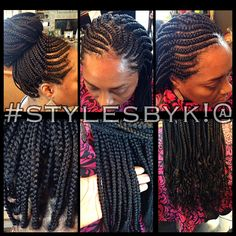 Ghana cornrows with box braids wavy ends with xpressions ultra braiding hair #stylesbyk!@