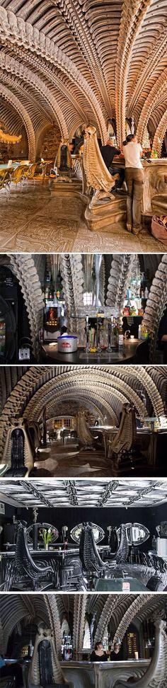 HR Giger Museum Bar, Gruyeres, Switzerland by HR Giger. -Alien movie-