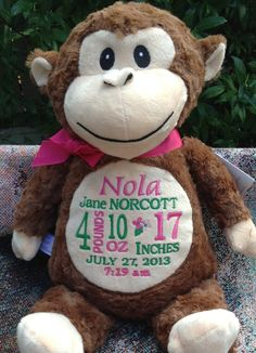 Personalized Baby Gift Monogrammed Monkey by WorldClassEmbroidery, $37.99