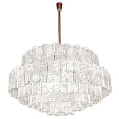 J. T. Kalmar Large Textured Glass Chandelier | From a unique collection of antique and modern chandeliers and pendants  at https://www.1stdibs.com/furniture/lighting/chandeliers-pendant-lights/
