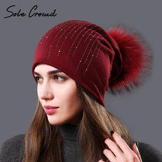 c2994b3aac5d Sole Crowd 2017 Autumn Rhinestone hats for Women fashion winter warm cotton  caps ladies beanies natural