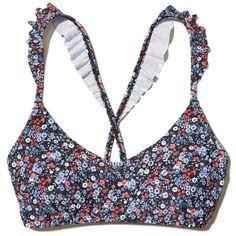 Hollister Ruffle Scoop Bikini Top (€28) ❤ liked on Polyvore featuring swimwear, bikinis, bikini tops, navy print, navy blue bikinis, strappy bikini, navy bikini, print bikinis and flounce bikinis