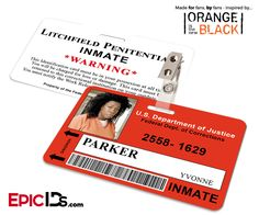 Orange is the New Black Inspired Litchfield Penitentiary Inmate Wearable ID Badge - Parker, Yvonne (Vee)
