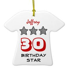 30th Birthday or ANY AGE Striped Stars Custom Name Christmas Tree Ornament   To see more customizable striped Jaclinart gift items:   http://www.zazzle.com/jaclinart+striped+gifts?st=date_created&ps=120  #stripes #striped #pattern #jaclinart #design #create