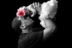 Daddy's little girl-cute idea! Like the black and white with the pop of color in flower!