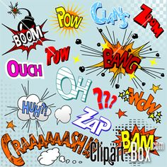clipart comic speech icons...explosions...