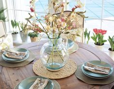 Spring decor, table decor, breakfast room, dining room