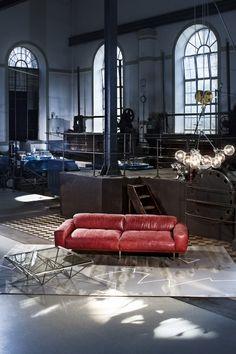 Sofa Lorenzo Leder rot by Kare Design/Studio Divani/Made in Italy!