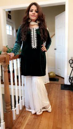 Pakistani Velvet Kameez, Green Velvet Shirt, Beaded Velvet Tunic with Net Gharara Pant, Velvet Kameez with Gharara Beautiful Pakistani Dresses, Pakistani Formal Dresses, Pakistani Outfits, Indian Outfits, Velvet Pakistani Dress, Pakistani Dress Design, Fancy Dress Design, Stylish Dress Designs, Stylish Dresses For Girls