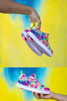 Major tie-dye moment 🌈 NEW colorful Tracer Heelys just dropped, who's ready to rock this style? #newcollection Yellow Ties, Neon Yellow, Shoe Releases, Flag Logo, Perfect Match, Digital Prints, Shop Now, Tie Dye, Colorful