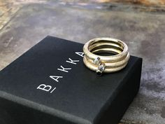 Stacking rings made of recycled godt Norwegian Jewelrydesign by BAKKA