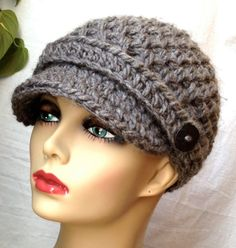 free+crochet+newsboy+hat+patterns+for+women | Crochet Womens Hat, Newsboy. Love the look! Need to find this pattern!