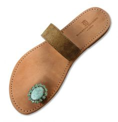 Patmos Beige Toe  turquoise semi precious stone on suede beige toe sandal