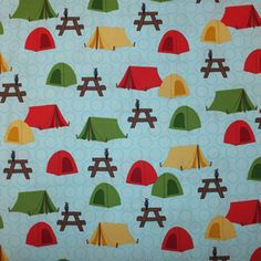 Camping fabric. Blue, yellow, red and green. Fabricinspirations