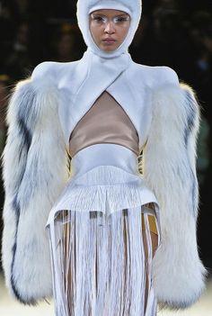 Thierry Mugler, upside V white bolero wearability yes, shredded tasseled Capri pants wearability yes, fur arm sleeves wearability yes and no