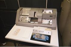 An IBM Key Punch machine which operates like a typewriter except it produces punched cards rather than a printed sheet of paper    University students in the 1970's bought blank cards a linear foot at a time from the university bookstore. (My sister and I sometimes went with my dad to the University of Wisconsin computer labs in the early 70's. I played with punch cards a lot and coloured on them.)
