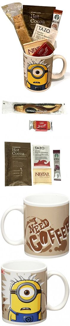 Coffee Tea Cocoa Mug Gift Set with Starbucks Via Coffee, Starbucks Hot Cocoa, Tazo Tea, Honey, Nonni's Biscotti + More ~Lots of Cup Styles~ (Minions - Need Coffee)