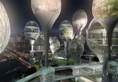 Planning Korea has unveiled a proposal dubbed L'air Nouveau de Paris (New Paris air). The concept features futuristic egg-shaped towers that take up an area of sq m (almost sq ft) in the city's Arrondissement. New Architecture, Futuristic Architecture, Réinventer Paris, Future Buildings, Office Buildings, Fantasy Concept Art, Paris Images, Landscape Concept, Futuristic City