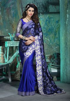 Blue Faux Georgette Brasso and Faux Satin Chiffon Saree with Blouse: SBJ1839