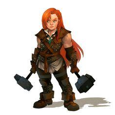 Female Dwarf Dual Wield Hammer Fighter - Pathfinder PFRPG DND D&D d20 fantasy