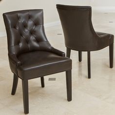 $281/2 Christopher Knight Home Hayden Tufted Brown Leather Dining Chair (Set of 2)