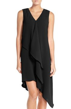 Adrianna Papell Ruffle Front Crepe High/Low Dress (Regular & Petite) available at #Nordstrom