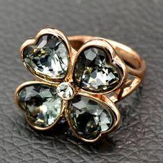 Prezzi e Sconti: #Rhinestone heart clover ring  ad Euro 5.41 in #Jewelry rings #Moda
