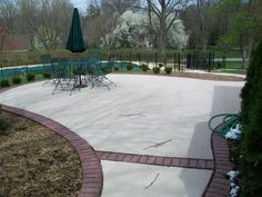 Genial Colored Concrete Patio With Stamped Concrete Brick Boarder