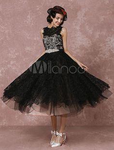 Kurze Hochzeitskleid schwarzer Spitze Vintage Brautkleid Strass Schärpe Wadenlang Illusion zurück Cocktailkleid