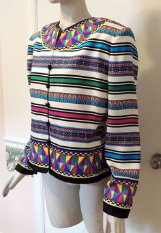 Stunning Adrianna Papell Silk Multi-Color Patterned Lined Blazer Jacket Size 14 #AdriannaPapell #Blazer