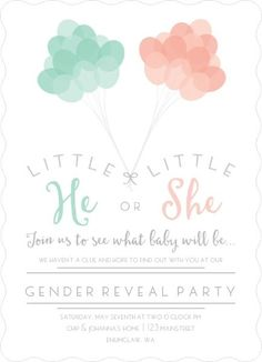 Mint and Peach Balloons Gender Reveal Party Invitation  Pinned by freebies-for-baby.com #genderreveal #baby #babyshower
