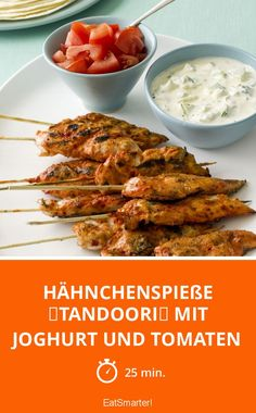 """Chicken skewers """"Tandoori"""" with yoghurt and tomatoes – smarter – Time: 25 min. Chicken Skewers, Chicken Wings, Seekh Kebab Recipes, Chocolate Desserts, Finger Foods, Chicken Recipes, Bbq, Food And Drink, Low Carb"""