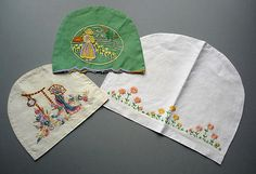 Three Vintage Hand Embroidered Linen Tea Cosy Covers made from old linens!