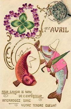 Cartes anciennes( Poisson d'Avril )**