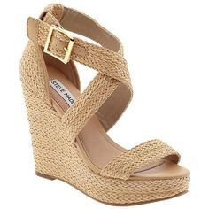 Women's Steve Madden Haywire Espadrille Wedge Sandals Natural 10 ($39) ❤ liked on Polyvore featuring shoes, sandals, wedges, heels, zapatos, natural, ankle wrap sandals, ankle strap heel sandals, ankle wrap wedge sandals and espadrille wedge sandals