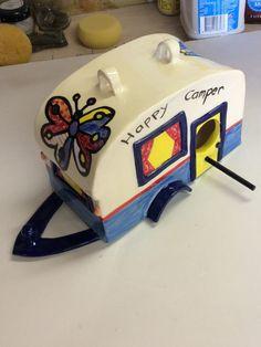 Ceramic caravan bird house By rosy clark