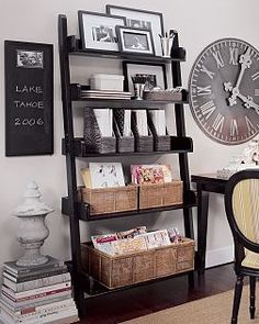 pottery barn bookshelves- I like the idea of having baskets on the shelves. stuff falls off easily. So the baskets add decor and handiness! Ladder Shelf Decor, Ladder Bookshelf, Bookshelves, Leaning Bookshelf, Leaning Ladder, Sectional Furniture, Furniture Redo, Wicker Furniture, Teen Furniture