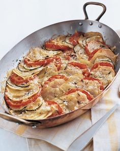 Potato, Zucchini and Tomato Gratin....yummmm! I'm making this tonight for dinner along with beer can grilled chicken. Delish!