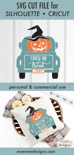Trick or Treat - Truck - Halloween - Jack o Lantern SVG example image 3 - Cricut ideas - Halloween Tags, Halloween Vinyl, Halloween Silhouettes, Fall Halloween, Halloween Crafts, Halloween Decorations, Halloween Designs, Fall Decorations, Halloween Ideas